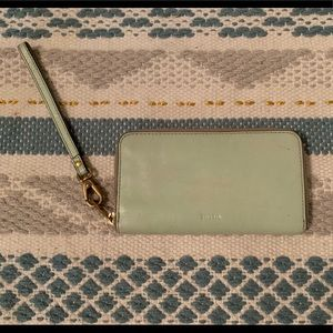 Mint Green Fossil Sydney Zip Clutch